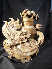 Chinese Nephrite Jade Dragon Carving