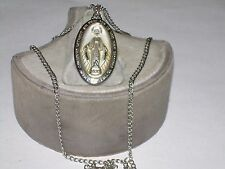 """Vintage Sterling Silver Miraculous Medal Necklace Of Mary - 20"""" Chain"""