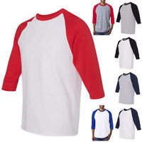 New Men's Casual 3/4 Sleeve Raglan Baseball 100% Cotton  Shirt Tshirt Tee