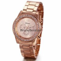 Women Rose Gold Tone Stainless Steel Band Quartz Analog Wrist Watch Ladies Gift