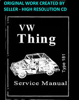 1973 1974 VW Thing Type 181 Service Manual Book Guide on a CD Hi-Resolution