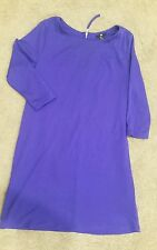 H&M blue straight 3/4 sleeve dress szM Preowned Excellent cond free post D22