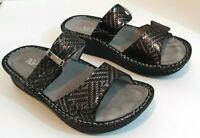 Alegria PG Lite Women's Karmen Black Metallic Slides Sandals US Size 6 (Euro 36)