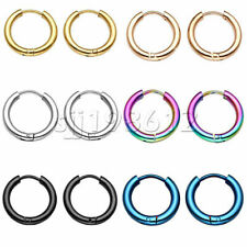 Women Men Silver Stainless Steel Hoop Earrings Ear Cartilage Nose Ring Piercing