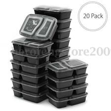 20Pc Microwavable Bento Lunch Plastic Box Meal Prep Food Storage Container +Lid