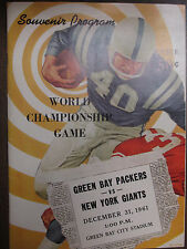 NFL PROGRAM GREEN BAY PACKERS VS NEWYORK GIANTS 1961 WORLD CHAMPIONSHIP STARR **