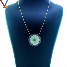 14K Gold Plated 925 Sterling Silver Turkish Jewelry Evil Eye Necklace CZ 18''N10