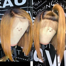 100% 9A European Remy Human Hair Wig Bob Ombre Short Straight Lace Front Wigs