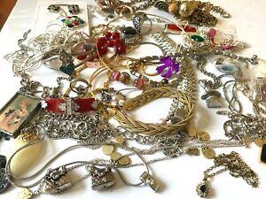 Lot Costume Jewelry Silver Rhinestones Gold Tone Necklaces Bracelets Pendants