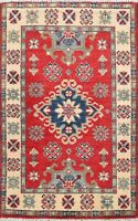 RED/IVORY Super Kazak Hand-Knotted Geometric Oriental Area Rug Wool 2'x3' Carpet