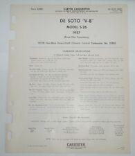 1957 DESOTO CARTER SPEC SHEET 2588S SPECS WCFB 4-BORE PN'S ILLUST