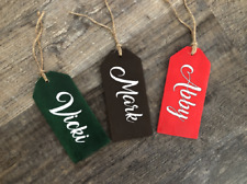 Personalized Christmas Stocking Wood Gift Tag Sign Hanging Name Tag