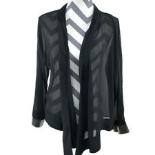 Soft Surroundings Womens Large Black Sheer Open Front Draped Cardigan Sequence