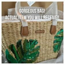 NWT MK MICHAEL Kors MALIBU LARGE Trapezoid WOVEN Straw TOTE Leather BAG Palm 🌴