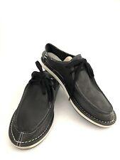 Ocean Minded Black Leather Shoe Men Boardwalk Boat Shoes Casual Lace Up Size 13