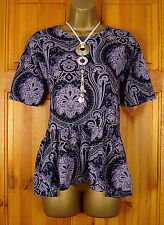 NEW DOROTHY PERKINS PURPLE NAVY BLUE PAISLEY BAROQUE PEPLUM TUNIC TOP UK 6-16