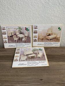 DTD Doll House Furniture Craft Kit Dining Room Bedroom 6pc Set Lot Vintage NIB