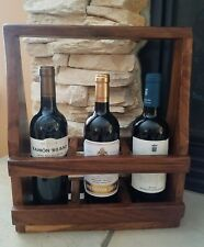 Handmade Solid Exotic Nicaraguan Guanacaste Wood 3 Wine Holder Caddy Carrier