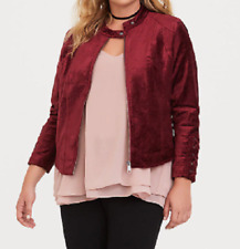 Torrid beautiful Cranberry red lattice velvet zip up moto jacket size 1