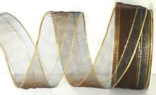 250m = 10 Rollen Dekoband je 25m x 40mm Organza braun grau gold #3826 1m//0,04€