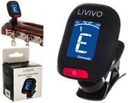 LIVIVO LCD CLIP ON CHROMATIC ACOUSTIC ELECTRIC GUITAR BASS UKULELE BANJO TUNER