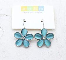 BOHM Flower Earrings Vintage Silver Swarovski & Aqua Blue Glass 'Cats-Eye' BNWT