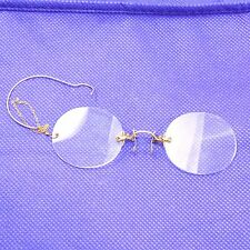 Vintage Eye Glasses Triumph Nose Pinch Rimless Spectacles Ear Loop 10k Filled