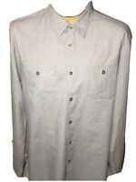 John Varvatos Luxe USA Men's XL Gray Striped Long Sleeve Button Front  Shirt EUC