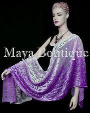Maya Matazaro Hand Dyed Violet Ombre Camellia Shawl Wrap Scarf Burnout Velvet