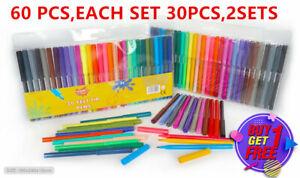 60 Felt Tip Pens Fine Fibre Tipped Drawing Markers Colouring Art School Colour