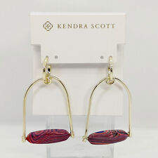 New Kendra Scott Sassy Statement Earrings in Pink Rainbow Calsilica / Gold