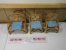 3 Piece Wood Wicker Dollhouse Miniature Chairs Furniture Accesories