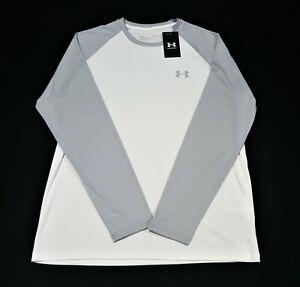 Under Armour Mens Long Sleeve  chest Logo Velocity Shirt 1327970-100 white gray
