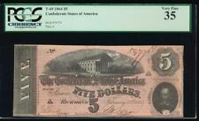 Ac T-69 $5 1864 Confederate Currency Csa Pcgs 35