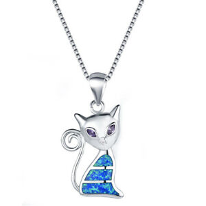 Women Lady Silver Cat Blue Simulated Opal Pendant Necklace Wedding Jewelry