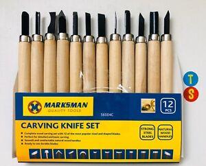 Marksman 12pcs Wood Carving Chisel Knife Tools Set Woodcut for Sculpture DIY