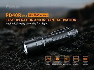 Fenix PD40 V2.0 SST70 3000 Lumens 405 meter Type-C USB 21700 Recharge Flashlight