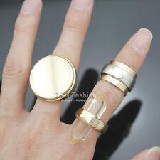 3Pcs Gold Clear Quartz Spike Bali Braided Gemstone Disc Flat Stack Band Ring
