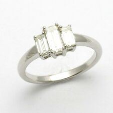 NEW 3 stone Emerald Cut Engagement Ring 1 carat New 18k white gold