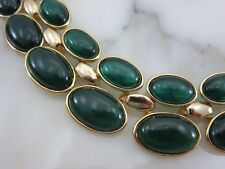 Green Cabochon Collar Necklace - Retro Style Costume Jewelry