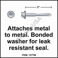 (1000) 12 x 3 Self Drilling TEK 5 Hex  Head Neo Washer Roof Screw #137796
