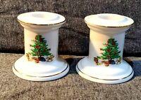Shibata Fine Porcelain Christmas Candlesticks, Japan, Set of 2