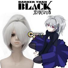 Darker than BLACK Yin Heat Resistant 30cm Silver White Cosplay Wig +Ponytail