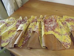 WAVERLY 2 LAYER VALANCE TOILE & PLAID MUSTARD YELLOW & RED lined EUC
