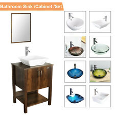"24"" Brown Bathroom Vanity Mirror Cabinet Set Vessel Glass Ceramic Sink Faucet Us"