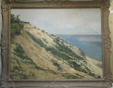 Old Vintage Oil Painting on Board Seascape Hillside Ocean View Signed