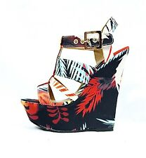 New Dollhouse Electric Tribal Strappy Open Toe Platform Women Wedge Shoes Sandal