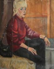 Vintage European large oil painting woman portrait