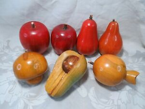 7-PIECE VINTAGE CARVED WOOD WOODEN FRUIT DECOR APPLES PEARS AVOCADO ETC