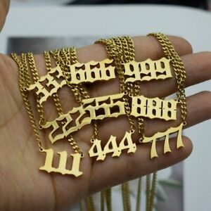 111 666 Devil Necklace Gold Stainless Steel Angel Number Pendant Charms Jewelry